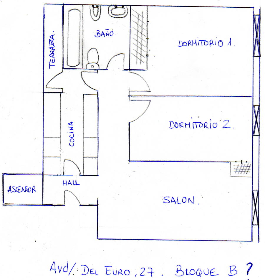 Pau de carabanchel documento croquis 2 habitaciones for Croquis de una cocina de restaurante