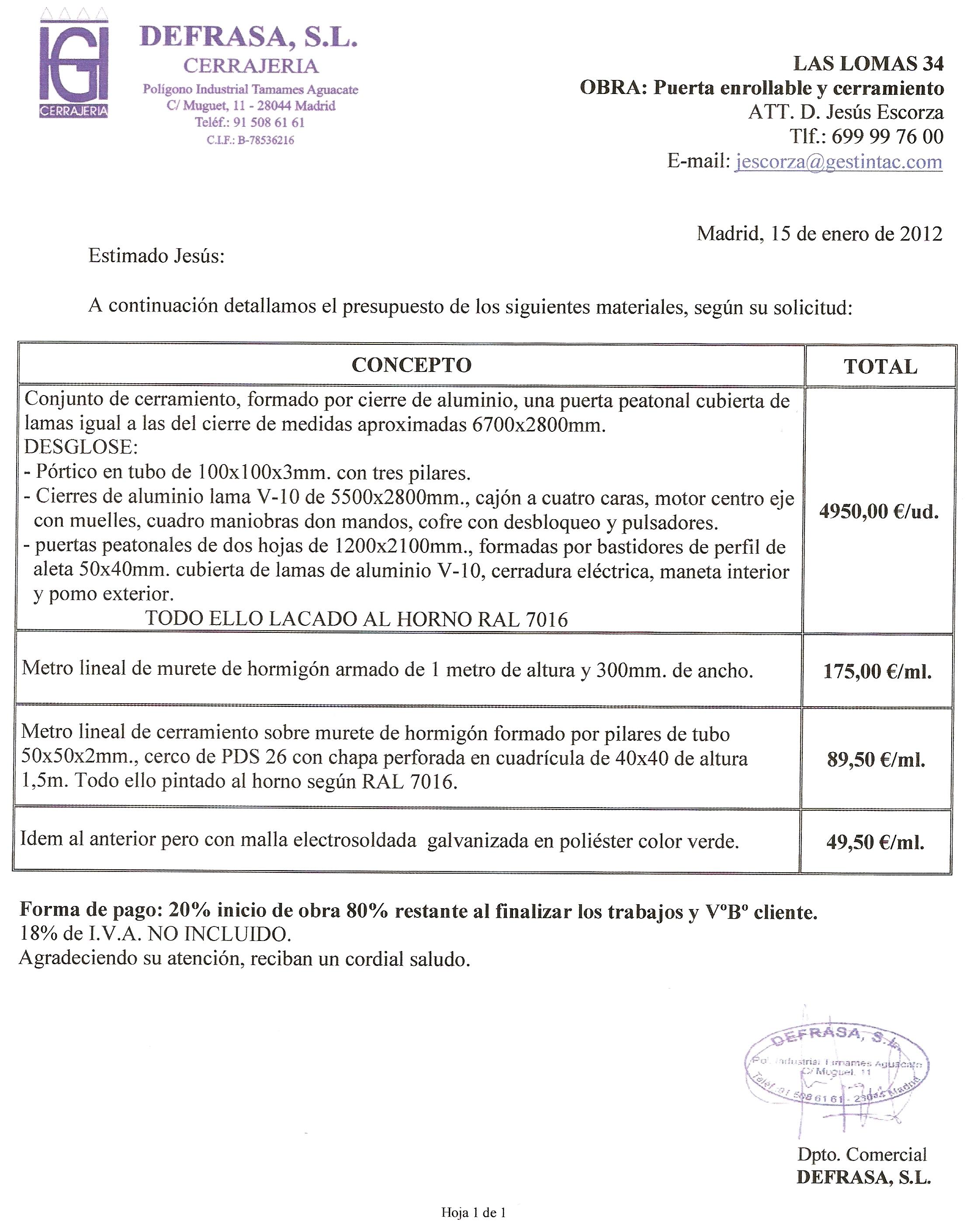 Las lomas 34 documento presupuesto puerta garaje y for Presupuesto puertas