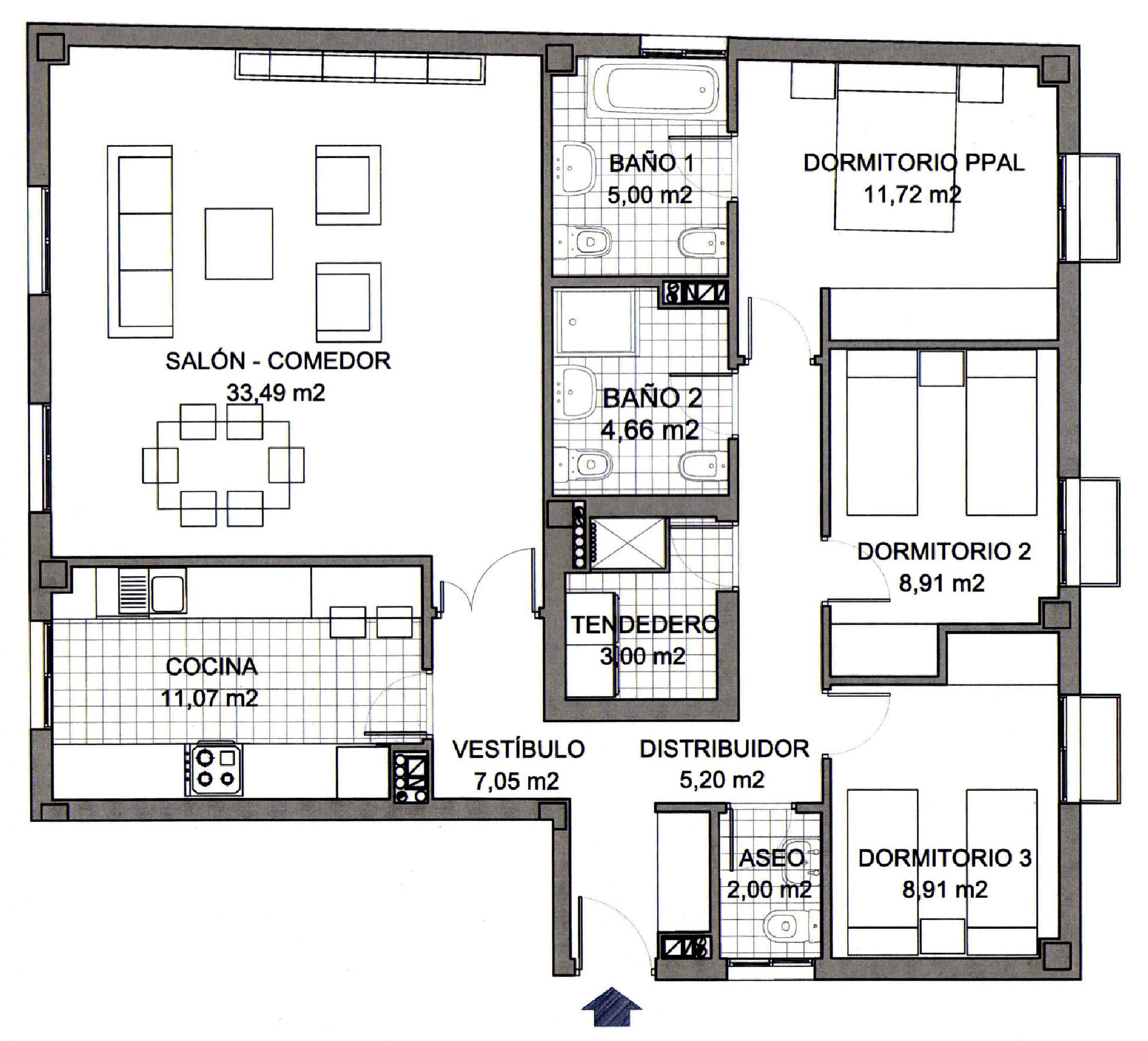 Primera casa s coop documento plano vivienda tipo 4 a for Viviendas modernas de una planta